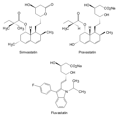 Chemical structures of three statins, including the synthetic structural analogue, Fluvastatin